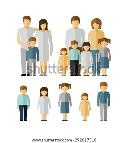 Family Kids Parents Flat People Figures Icons  - stock vector