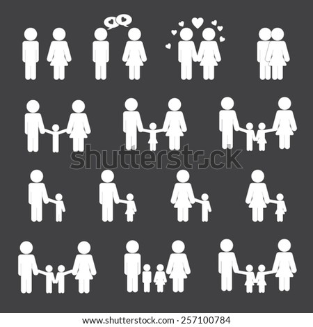 Family life icon set - stock vector