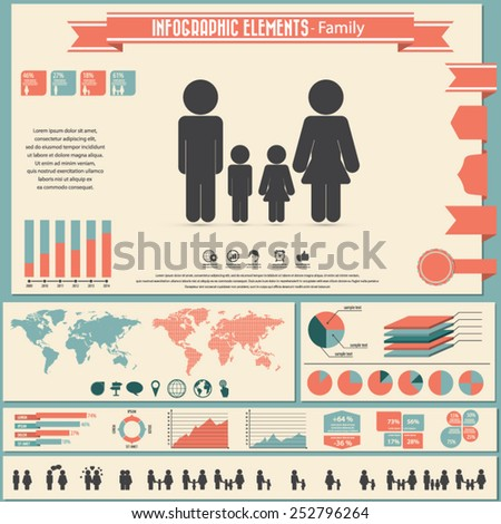 Family life - icon set and infographic elements .Eps10 vector.Can be used in any project.  - stock vector