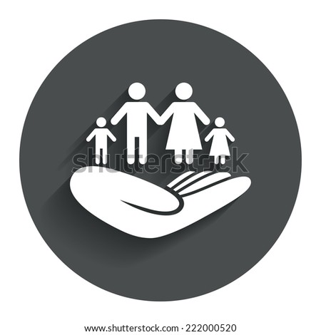 Family life insurance sign. Hand holds human group symbol. Health insurance. Circle flat button with shadow. Modern UI website navigation. Vector - stock vector