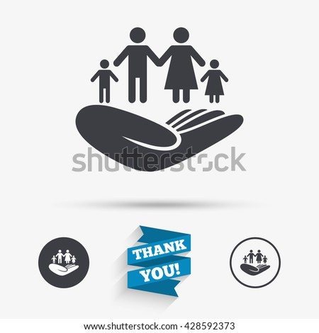family life insurance sign hand holds stock vector