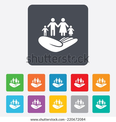 Family life insurance sign. Hand holds human group symbol. Health insurance. Rounded squares 11 buttons. Vector - stock vector