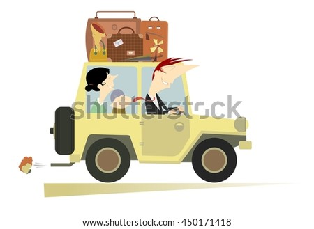 Family life. Man, woman and a baby traveling by car  - stock vector