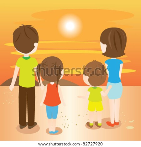 Family looking at the sunset - stock vector