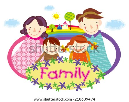 Family Love. Happy family. - stock vector