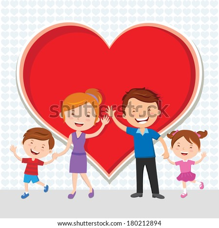 Family Love. Happy family gesturing. - stock vector