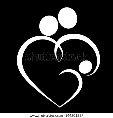 Family Love Heart Icon Mother Father Stock Vector ...