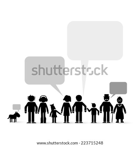 family members - communication concept - stock vector