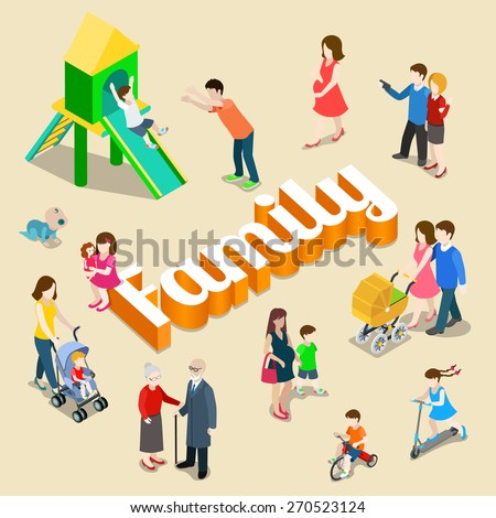 Family modern lifestyle flat 3d web isometric infographic vector. Young joyful parents micro male female group parenting mother father dad mom huge letters. Creative people collection. - stock vector