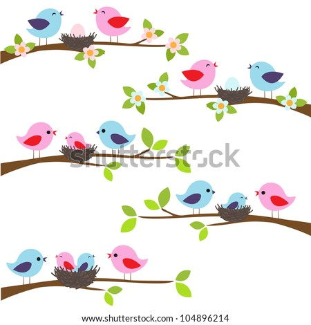 Family of birds sitting on a branch. - stock vector