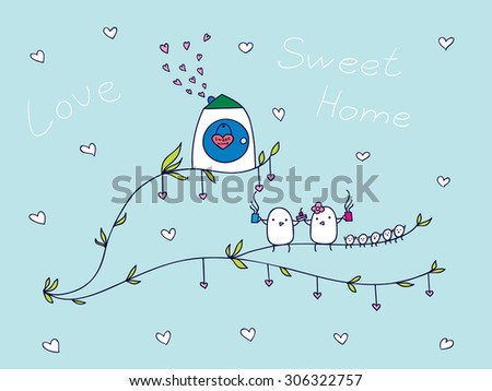 family of birds sitting on a branch and drink tea. vector illustration