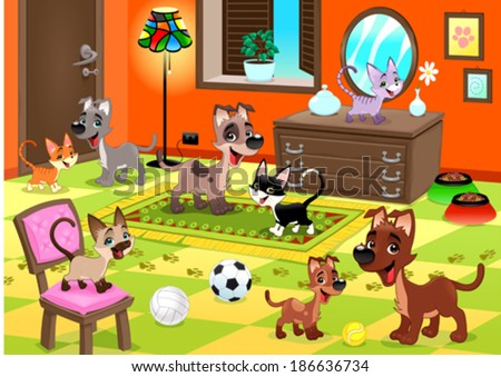 Family of cats and dogs in the house. Funny cartoon and vector illustration. - stock vector
