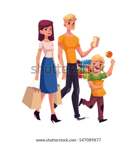Family Carrying Mall Shopping Stock Images, Royalty-Free ...