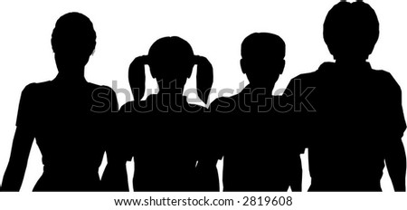 family of four silhouette - stock vector