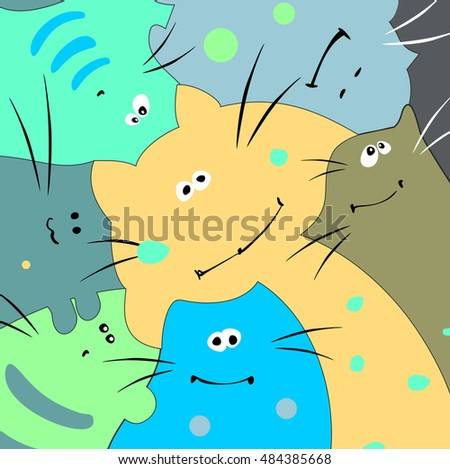 Family of funny multicolored cats. Vector illustration.