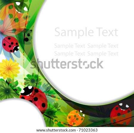 Family of ladybugs on the abstract floral background - stock vector