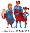 Family of superheroes. Vector illustration. White background - stock vector