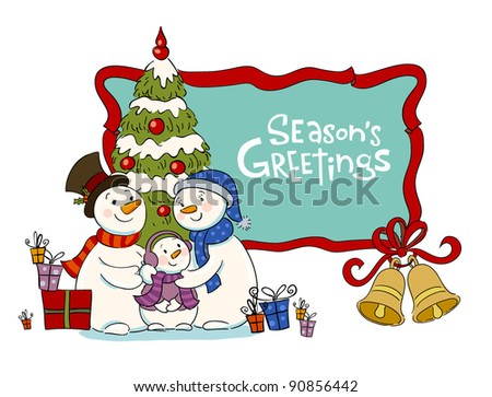 Family of the snowman near to a Christmas fur-tree - stock vector
