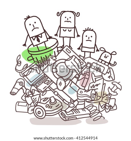 family on a pile of garbage - stock vector