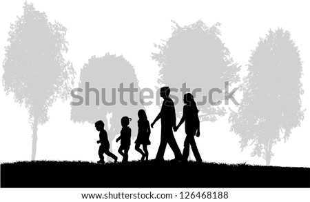 Family on a walk - stock vector