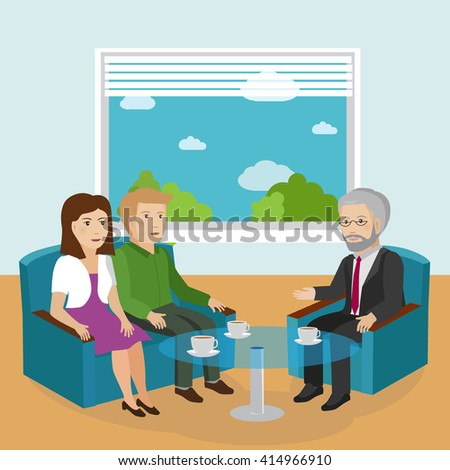 Family on advice from a psychologist. Vector Illustration - stock vector