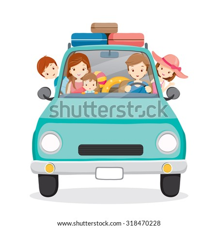 Family on Car Driving to Travel, Vacations, Holiday, Journey Trips, Transportation