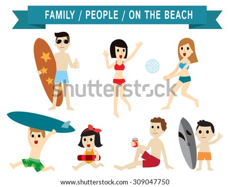 family on the beach. set of full body diverse people. age and dress are different. character cartoon concept. flat icons modern design. isolated on white background. asian,european,american,caucasian,