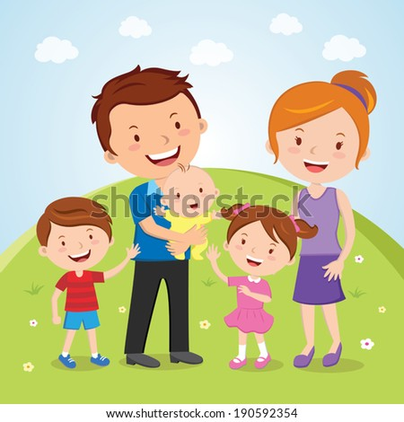 Family outdoor portrait. Outdoor portrait of a happy young family. - stock vector