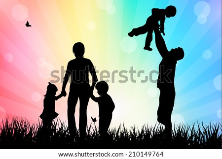 Family outdoors - stock vector