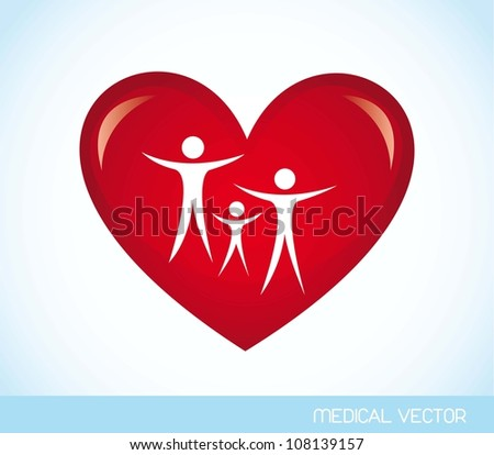 family over red heart over blue background. vector illustration