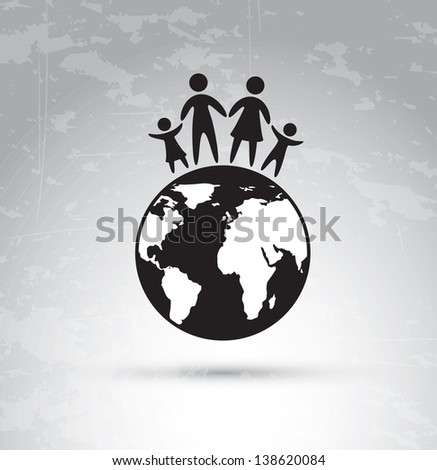 Family over world and vintage background  vector illustration - stock vector