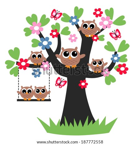 family owls tree together - stock vector