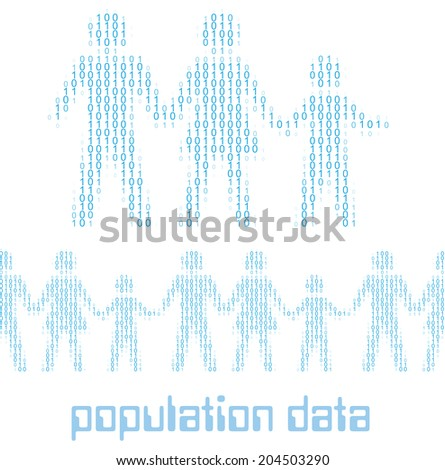 Family people as digital 1 0 data population statistics to tile horizontally - stock vector