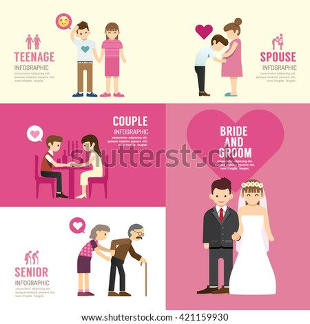 Family people flat design with icons concept infographic love,vector illustration - stock vector