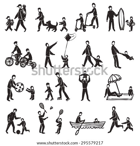 Family physical activity walking rollers badminton and other sport and rest sketch silhouette isolated vector illustration