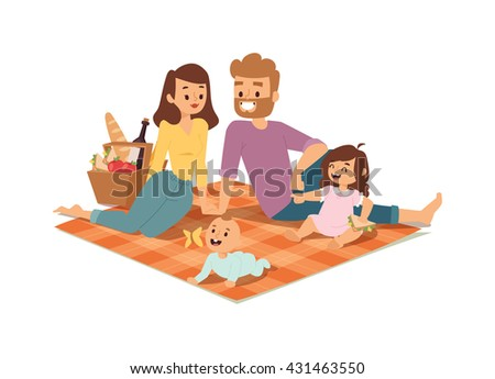 Family picnicking summer happy lifestyle park outdoors together, enjoying meadow vacation character vector. Family picnic vacation and summer family picnic. Happy family picnic resting outdoors. - stock vector