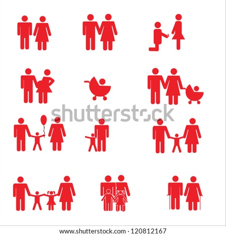 Family Pictogram - A set of red color pictogram representing family.