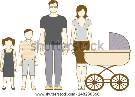 Family portrait couple with two children boy and girl and baby in a pram - stock vector
