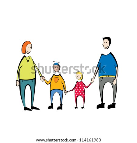 Family Portrait . Mother, son , daughter, father together in a family picture. - stock vector