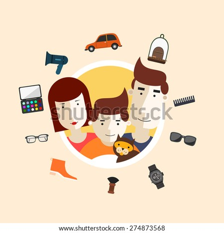 Family. Portrait of three family members with things. Parents baby and a cat. Vector illustration of a flat design. - stock vector