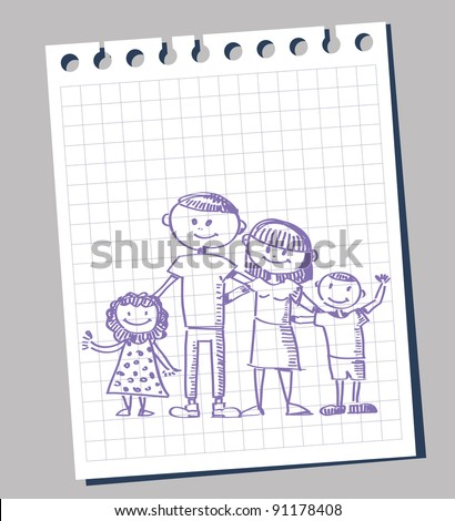family posing sketch on note paper - stock vector