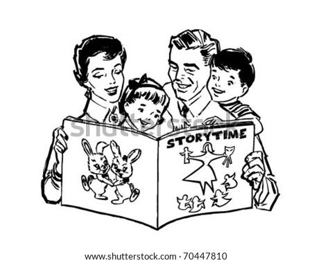 Family Reading Book - Retro Clipart Illustration - stock vector