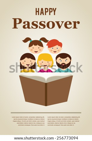 family reading hagada book at passover  holiday, illustration with place for your text - stock vector