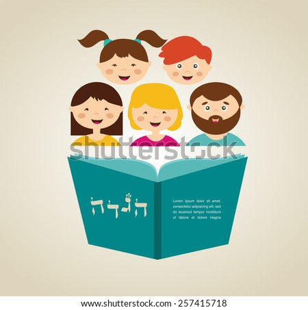 family reading hagada  book (in Hebrew) at passover  holiday, illustration with place for your text - stock vector