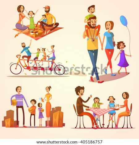 Family retro cartoon set with celebrations holidays and activities isolated vector illustration