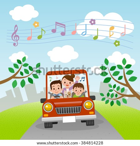 Family rides in car with music - stock vector