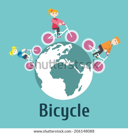 Family Riding Bicycle for green earth,vector,illustration. - stock vector