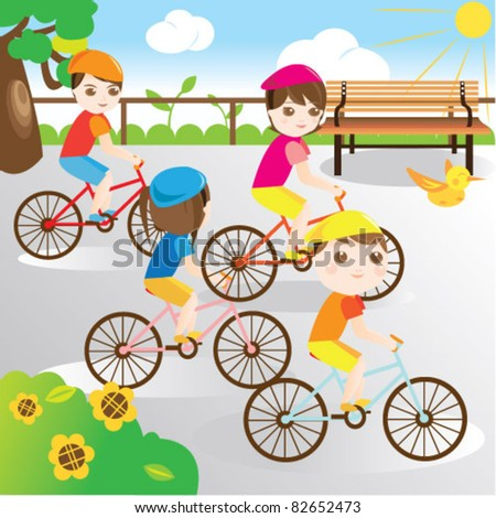 Family riding bicycle in the park - stock vector