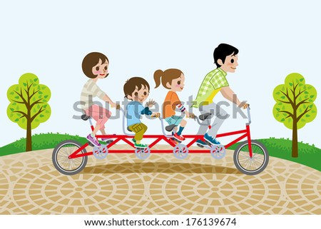 Family riding Tandem Bicycle, in the park - stock vector