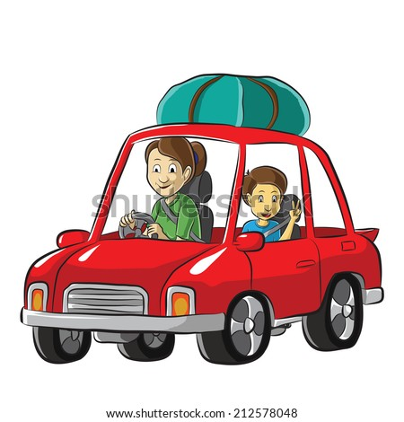 Family road trip by a car - stock vector